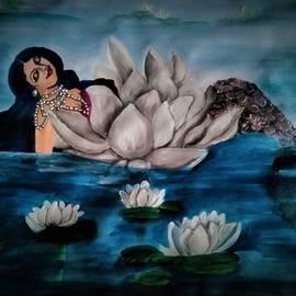 Dreaming mermaid in lotus by Tara Krishna
