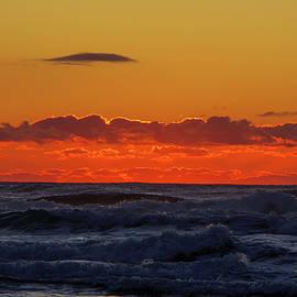 Dusk and waves Oregon coast by Jeff Swan