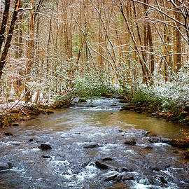 Dusting of Snow on the River by Debra and Dave Vanderlaan