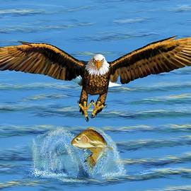 Eagle Midair Catch by Gary F Richards