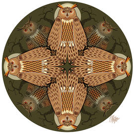 Eagle Owl Night Perch Mandala by Tim Phelps