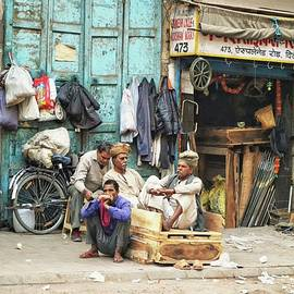 Early Morning Street Scene In New Delhi by Toni Abdnour