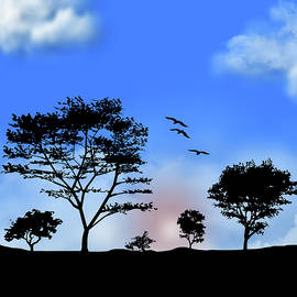 Early Morning Sunrise Blue Pane 1 by David Dehner