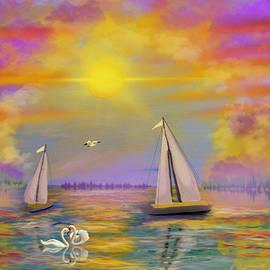 Edit of Sailboats at Sunset by Gary F Richards