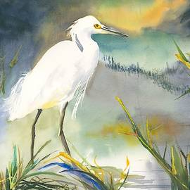 Egret at Night Creek by Hiroko Stumpf