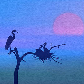 Egret Nesting Silhouette by Patti Deters