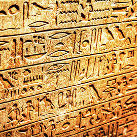 Egyptian Hieroglyphs Symbols Carved In Stone by Paul Thompson