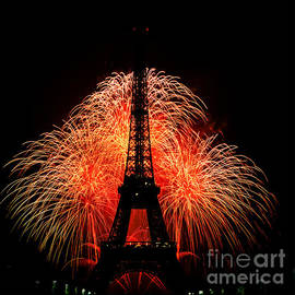 Eiffel Tower and the fire works. by Cyril Jayant