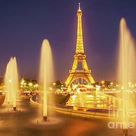 Eiffel tower with Trocadero fountains at night, Paris, France by Neale And Judith Clark