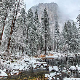 El Capitan and The Merced River with Snow in Yosemite National Park