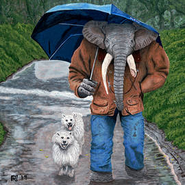 Elephant Man Walking Dogs by Ted Helms