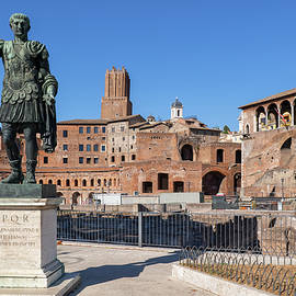 Emperor Trajan Statue And Forum In Rome by Artur Bogacki