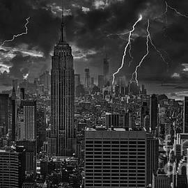 Empire State Bu ilding LIghting Storm BW by Chuck Kuhn