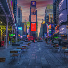 Empty Chairs And Empty Tables, Times Square New York by Mike Deutsch