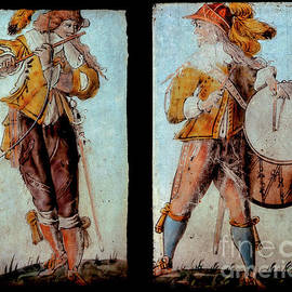 English Civil War flautist and drummer - military musicians in stained glass, Farndon, Cheshire, UK by Terence Kerr