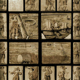 English Civil War soldiers in sepia, unique 1662 window, St Chad Church, Farndon, Cheshire, England by Terence Kerr