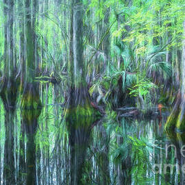 Ethereal Cypress Reflections, Florida, Painterly by Liesl Walsh