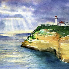 Evening Hours At Alfanzina Lighthouse in Algarve Portugal by Dora Hathazi Mendes
