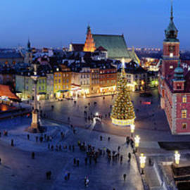 Evening Panorama of Warsaw City in Poland by Artur Bogacki
