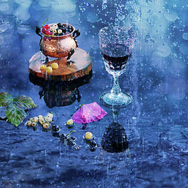 Evening Wine On The Veranda Of The Summer Cafe On A Hot Day After The Rain by Tamara Sushko