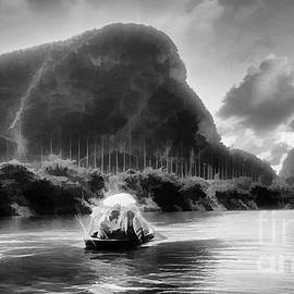 Exotic Tam Coc Reserve Boat ride Vietnam Black White  by Chuck Kuhn