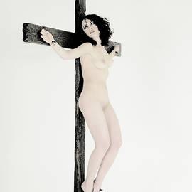 Experimental woman on cross I by Ramon Martinez