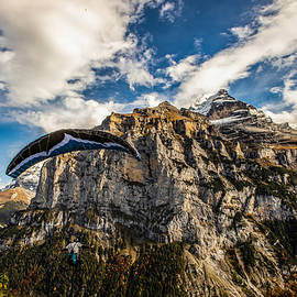 extreme paragliding launching in Switzerland by Rick Neves