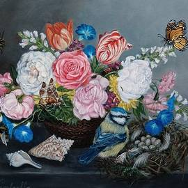 Eye spy - Floral still life with bird and insects by Ruth Ann Ventrello
