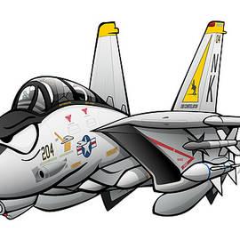 F-14 Tomcat Military Fighter Jet Aircraft Cartoon by Jeff Hobrath