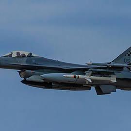 USAF General Dynamics F-16 Fighting Falcon Departing Daniel K. Inouye International Airport Art  by Reid Callaway