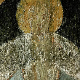 Face of an angel in faded fresco, Chapel of St Blaise, Rothenburg ob der Tauber, Bavaria, Germany by Terence Kerr