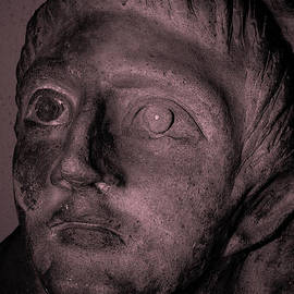 Face of ancient Etruria - effigy from sarcophagus in Etruscan city now known as Tarquinia by Terence Kerr