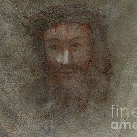 Face of Jesus fresco, Turin Shroud 1578 roadside chapel resting place, Issogne, Aosta Valley, Italy by Terence Kerr
