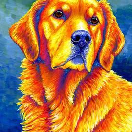 Faithful Friend - Colorful Golden Retriever Dog by Rebecca Wang