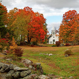 Fall Colors over a Field Wall in Hillsboro NH by Jeff Folger