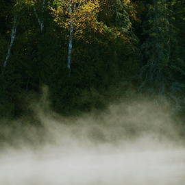 Fall morning Fog at Hogback Lake by Tom Halseth