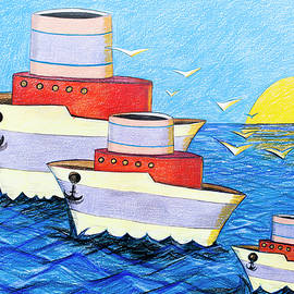Family of boats by Art Time Today