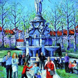 FAMILY REUNION IN THE MARECHAL LYAUTEY SQUARE LYON oil painting Mona Edulesco by Mona Edulesco