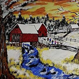 Family Walk At The Covered Bridge. by Jeffrey Koss
