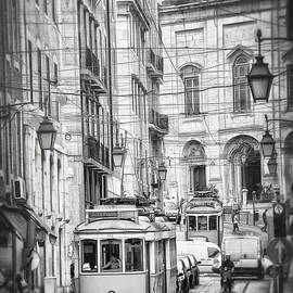 Famous Trams of Lisbon Portugal Black and White  by Carol Japp