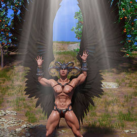 Fantasy Angel with Black Wings Outdoor with Nature 2 by Barroa Artworks