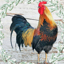 Farmhouse Country Rooster In Square by Diann Fisher