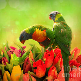 Feathered Flower Lovers. by Trudee Hunter