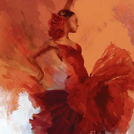 Female Flamenco Dance Abstract art 01 by Gull G