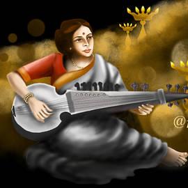 Female Sarod player by Anjali Swami