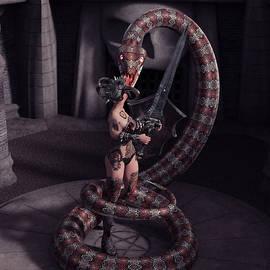 Female Tattooed Amazon Warrior Against A Giant Snake Monster 1 by Barroa Artworks
