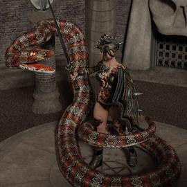 Female Tattooed Amazon Warrior Against A Giant Snake Monster 2 by Barroa Artworks