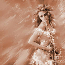 Female Trumpet Player In Sepia  by Gull G