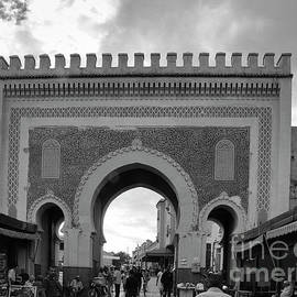 Fes Medina Entrance Black White Morocco  by Chuck Kuhn