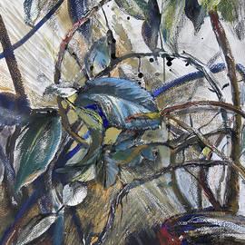 Ficus on the window 2 - original mix-media artwork by Maria Shchedrina